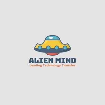 Logotipo alien, nave espacial con fondo gris