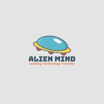 Logotipo alien, nave espacial