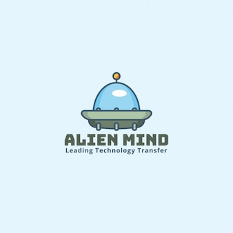 Logotipo alienígena sobre un fondo azul