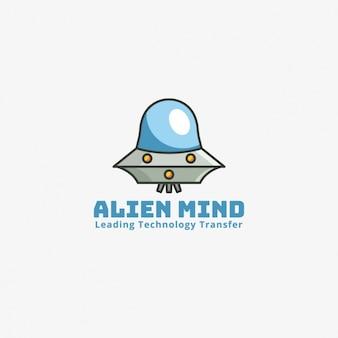 Logotipo alienígena sobre un fondo gris