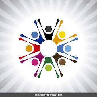 Logotipo con avatares humanos abstractos