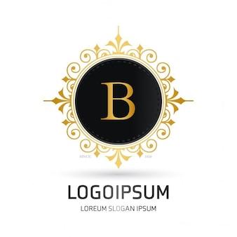 Logotipo con un marco redondo dorado