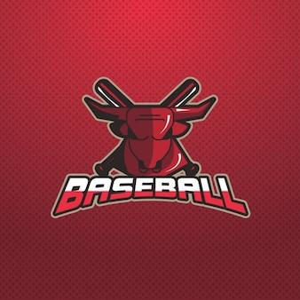 Logotipo de béisbol sobre un fondo rojo