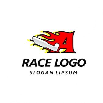 Logotipo de carreras con la letra a