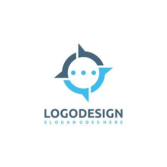 Logotipo de chat y brújula