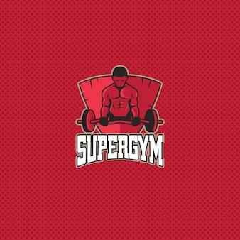 Logotipo de gimnasia sobre un fondo rojo