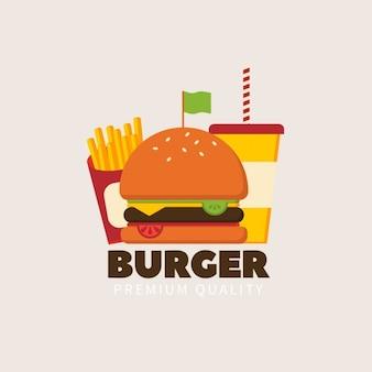 Logotipo de hamburguesa con una bandera verde