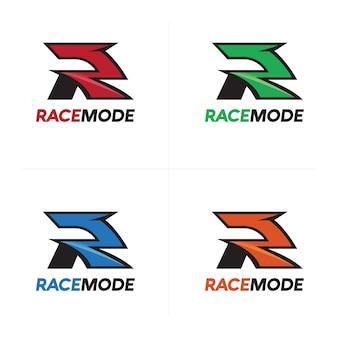 Logotipo de la velocidad de la raza, letra R que compite con Logotipo
