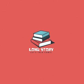 Logotipo de libros sobre un fondo rojo