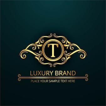 Logotipo de lujo de la letra t