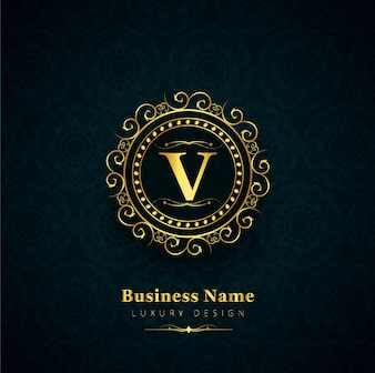 Logotipo de lujo de la letra v