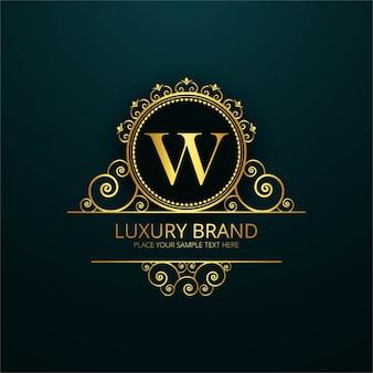 Logotipo de lujo de la letra w
