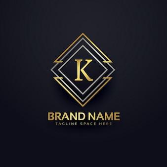Logotipo de lujo para la letra k