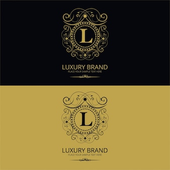 Logotipo de marca de lujo de la letra l