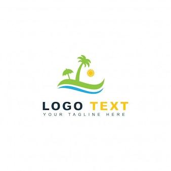 Logotipo de playa y viaje