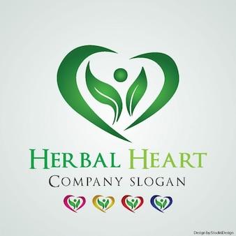 Logotipo del corazón de hierba