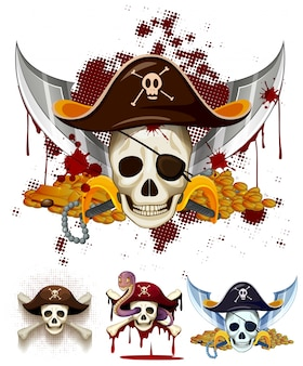 Logotipo del tema del pirata con los cráneos