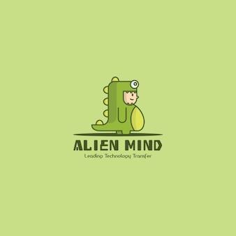 Logotipo dinosaurio, fondo verde