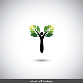 Logotipo eco con árbol abstracto