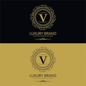 Logotipo elegante vintage de la letra v