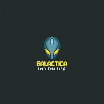 Logotipo galáctico sobre un fondo oscuro