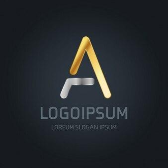 Logotipo letra a oro y plata