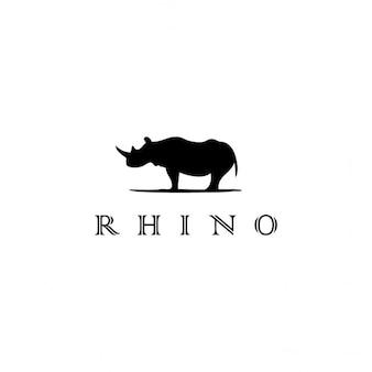 Logotipo negro con un rinoceronte