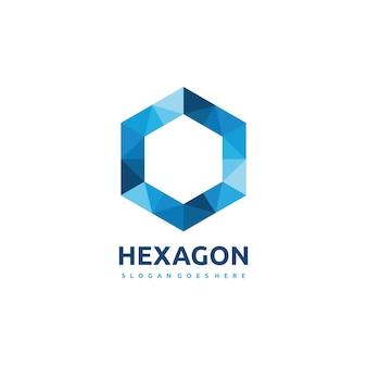 Logotipo poligonal del hexágono
