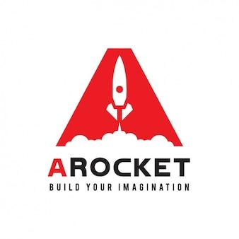 Logotipo rojo con un cohete