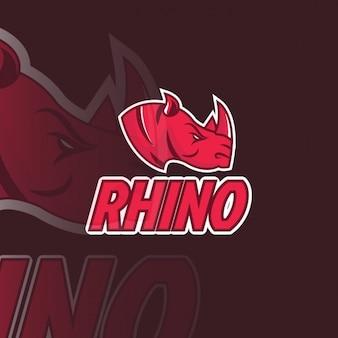 Logotipo rojo con un rinoceronte