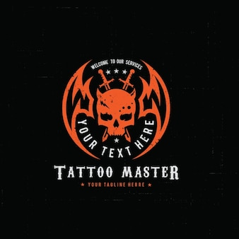 Logotipo rojo para un estudio de tatuajes