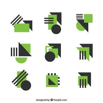 Logotipos abstractos con detalles geométricos verdes