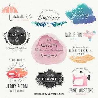 Logotipos acuarelas preciosas