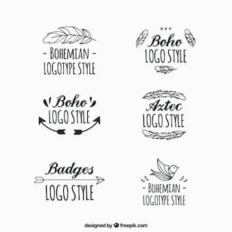 Logotipos boho dibujados a mano con ornamentos