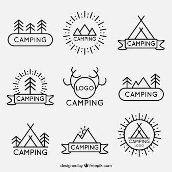 logotipos camping lineales paquete