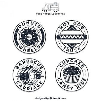 Logotipos circulares de camionetas de comida con contorno