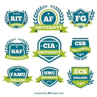 Logotipos con lazos verdes para la universidad