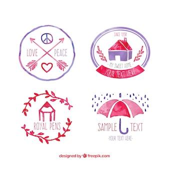 Logotipos de acuarela en estilo retro