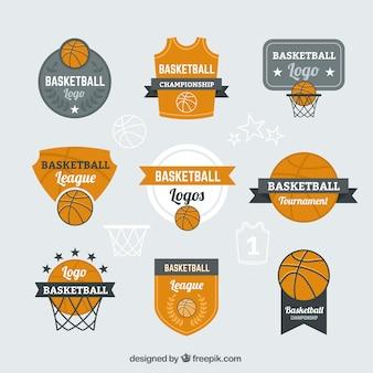 Logotipos de baloncesto naranjas y grises