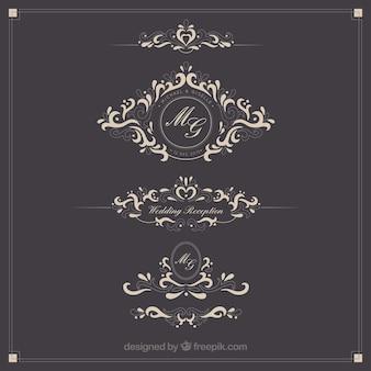 Logotipos de la boda ornamentales
