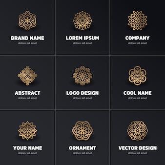 Logotipos de mandalas dorados