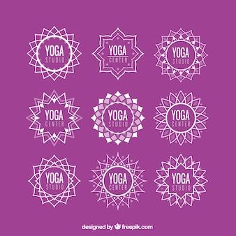 logotipos de yoga florales abstractos Conjunto