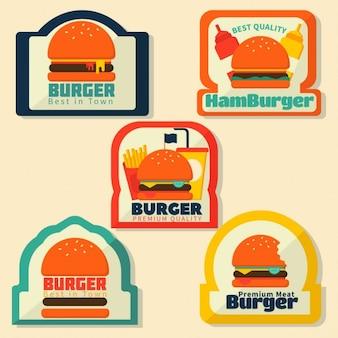 Logotipos flat de hamburguesas