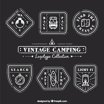 Logotipos lineales de camping vendimia