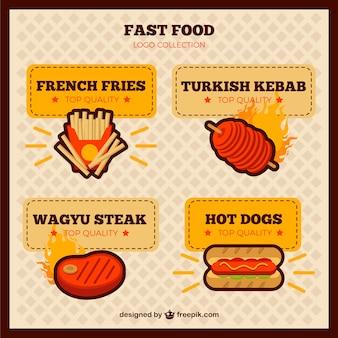 Logotipos planos de comida rápida sabrosa