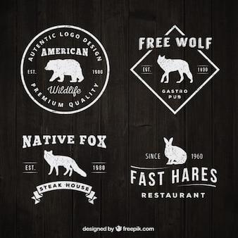 Logotipos vintage con siluetas de animales