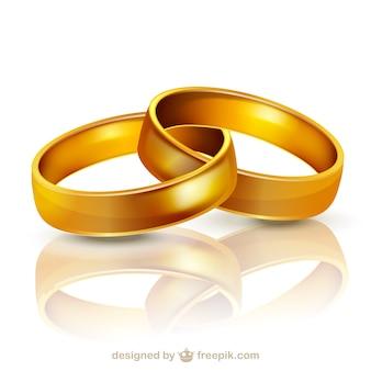 Los anillos de bodas de oro de la ilustración