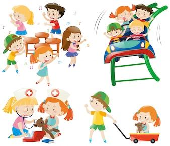 Los niños que juegan diferentes juegos