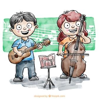 Los niños que juegan un instrumento musical