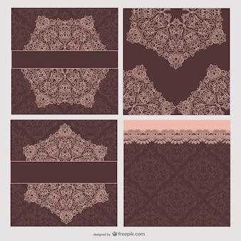 los patrones retro tarjetas vector material